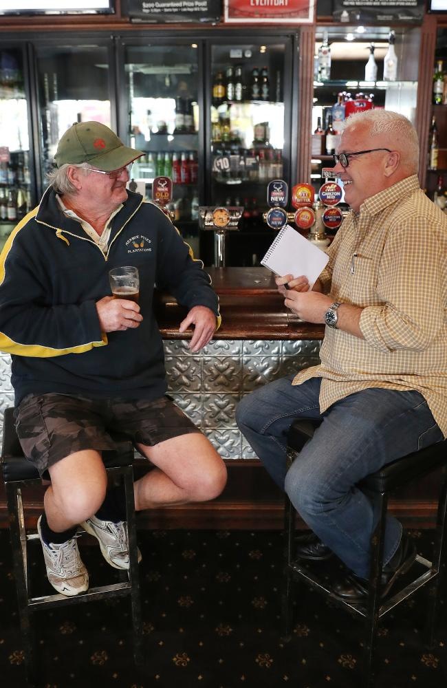 Keith Politch talks to Courier-Mail journalist Matt Condon. Picture: Peter Wallis