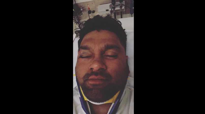 Melbourne Rebels players Hunter Paisami and Pone Faamausili have been stood down after allegedly assaulting this man, his sister has claimed on Facebook. Picture: Facebook