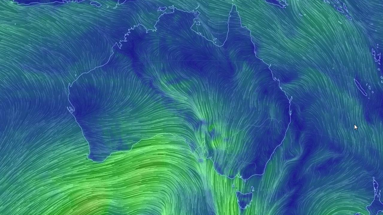 Wind maps show the gusts heading towards the southeast of Australia.