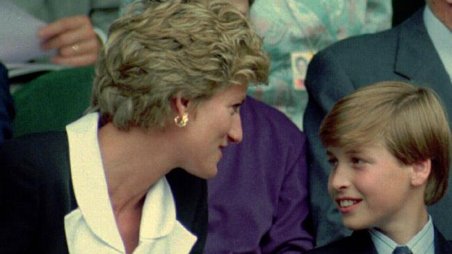 Diana, Princess of Wales, with her son Prince William at the Wimbledon tennis championships in 1994.