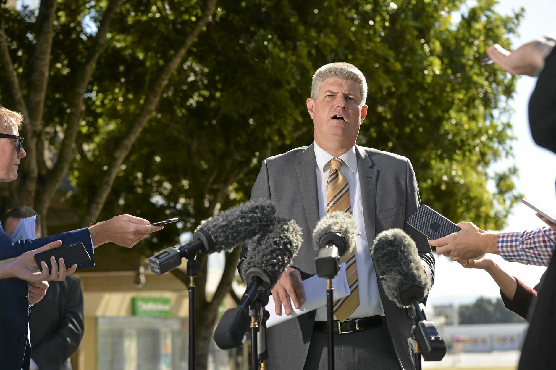 Stirling Hinchliffe holds a press conference in the Ipswich CBD mall with regards to the Ipswich City Council.