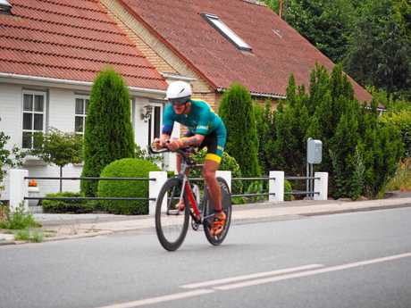 Jonathan Hamwood in action during the Aquabike at the ITU age group world championships.