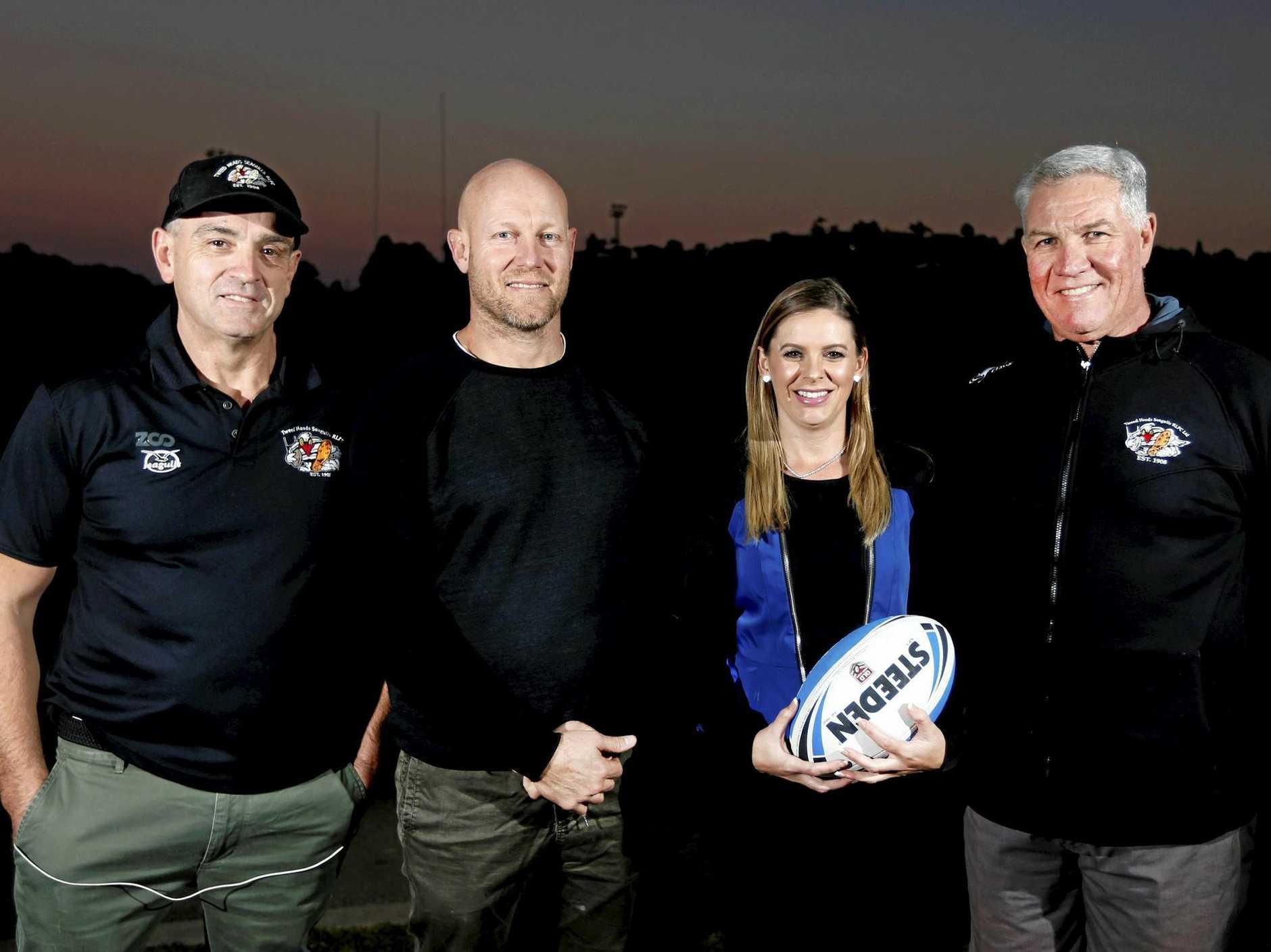 Brigid Davey - Tweed Heads Rugby League first female Board Member Brigid Davey. Darryn Staff, Jamie McDonald, Brigid Davey and Ian Paten.