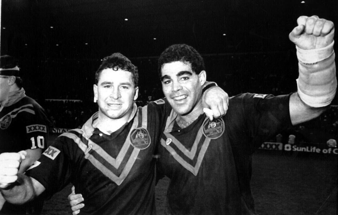 Ricky Stuart and Mal Meninga on the 1990 Kangaroos tour.
