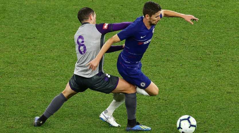 Jorginho of Chelsea controls the ball.