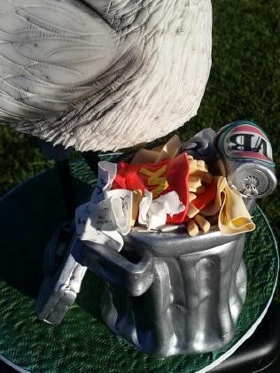 Contents of the trash can on Kate Rider's ibis cake.