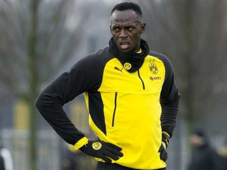 Usain Bolt during a training session with Borussia Dortmund. Picture: Getty