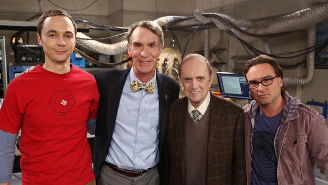 Jim Parsons, Bill Nye, Bob Newhart and Johnny Galecki on the set of The Big Bang Theory. Picture: Monty Brinton/CBS via Getty Images