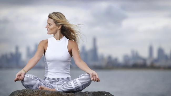 Life after Warnie: Simone Callahan has found solace in practising yoga. Picture: Supplied. Picture: David Caird
