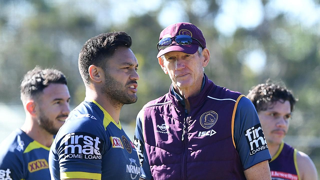 Coach Wayne Bennett looks on during the Brisbane Broncos training session.