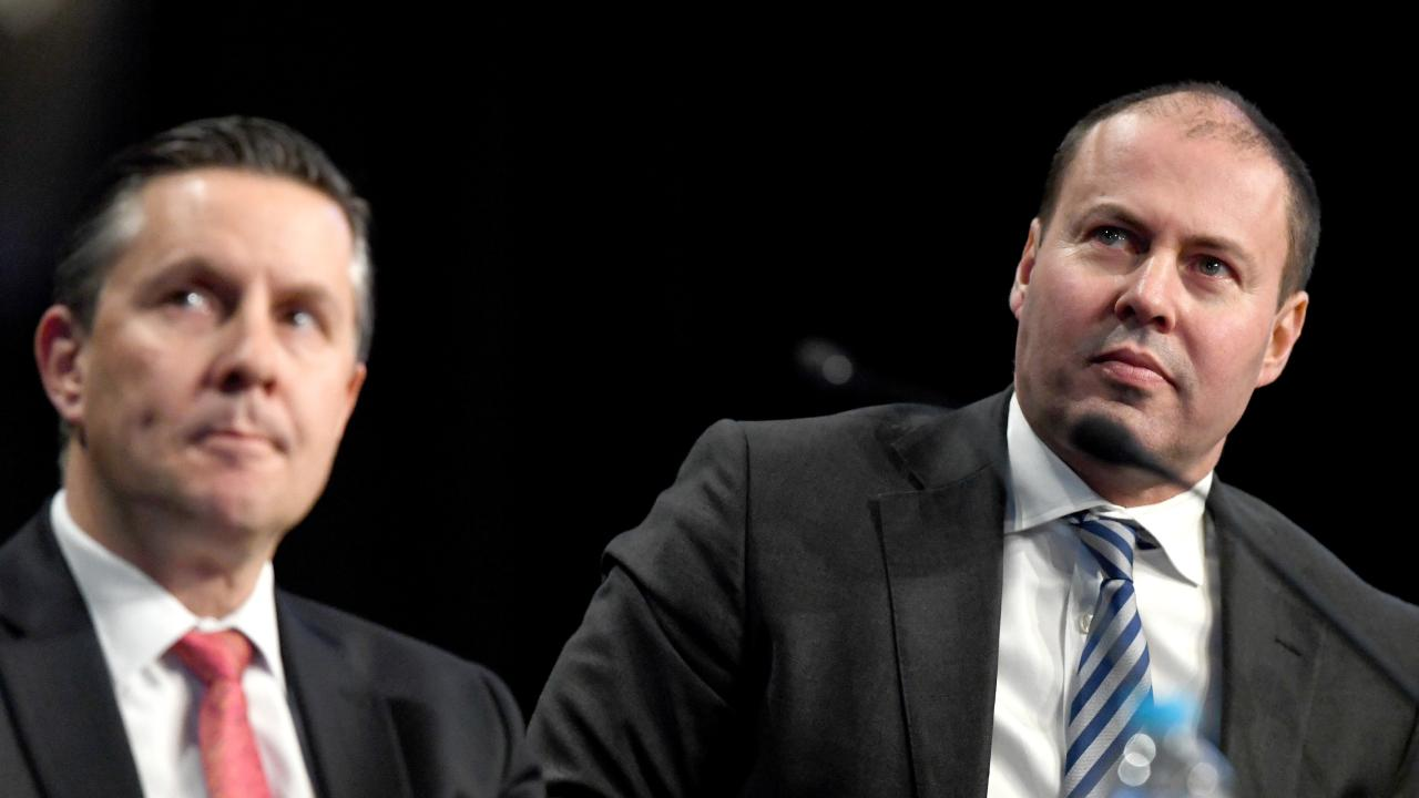 Minister for the Environment and Energy Josh Frydenberg (right) at a Carbon and Energy session last year. Picture: AAP