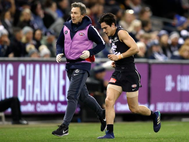 Zack Fisher will miss the rest of the season after the incident with Howe. Picture: AFL Media/Getty Images