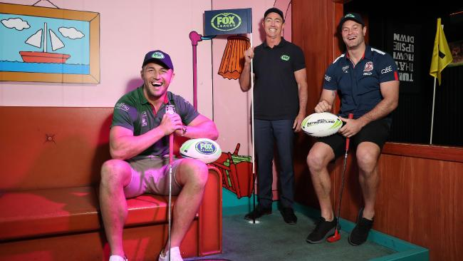 Rabbitohs forward Sam Burgess, league legend Greg Alexander and Roosters captain Boyd Cordner, launch Fox League's Retro Round. Picture: Brett Costello