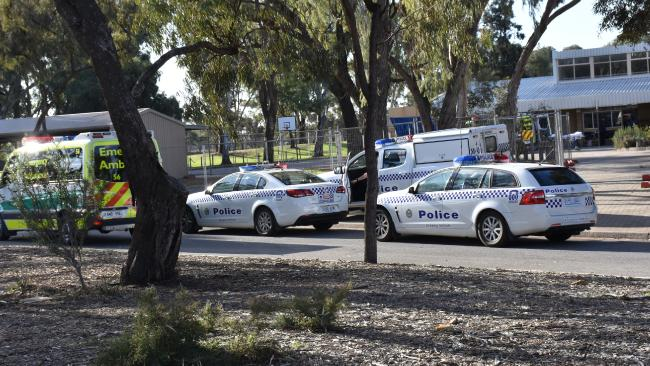 Renmark High School today after the alleged stabbing of a 17 year old girl. Picture: Murray Pioneer.