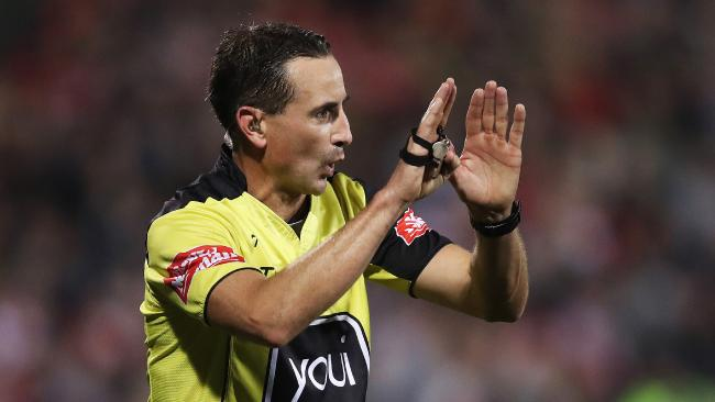 Referee Gerard Sutton during an NRL earlier this year. Picture: Phil Hillyard