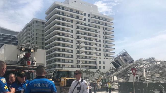 A Miami building scheduled for demolition has collapsed, injuring one. Picture: Miami beach Police/Twitter