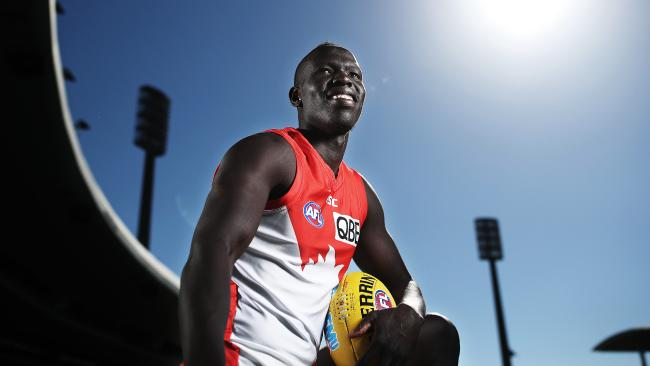 Aliir Aliir at the SCG after signing a new three-year deal at Sydney. Picture: Phil Hillyard