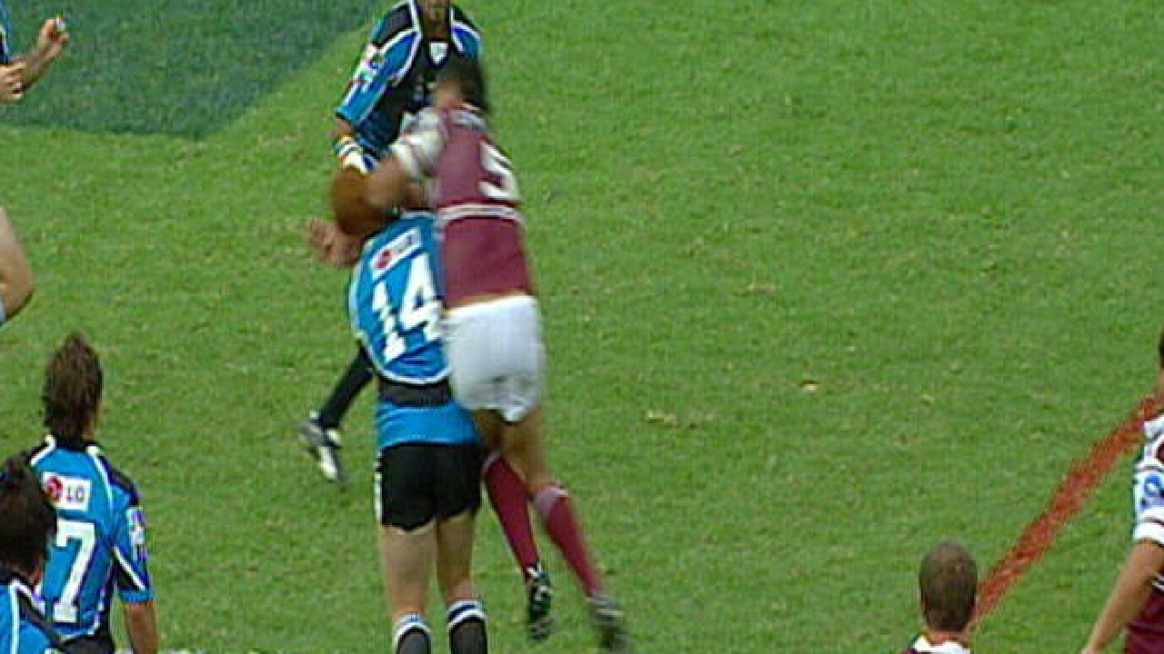 John Hopoate received 45 weeks' worth of suspensions in his career, including 17 weeks for this cheap shot on Keith Galloway in 2005.