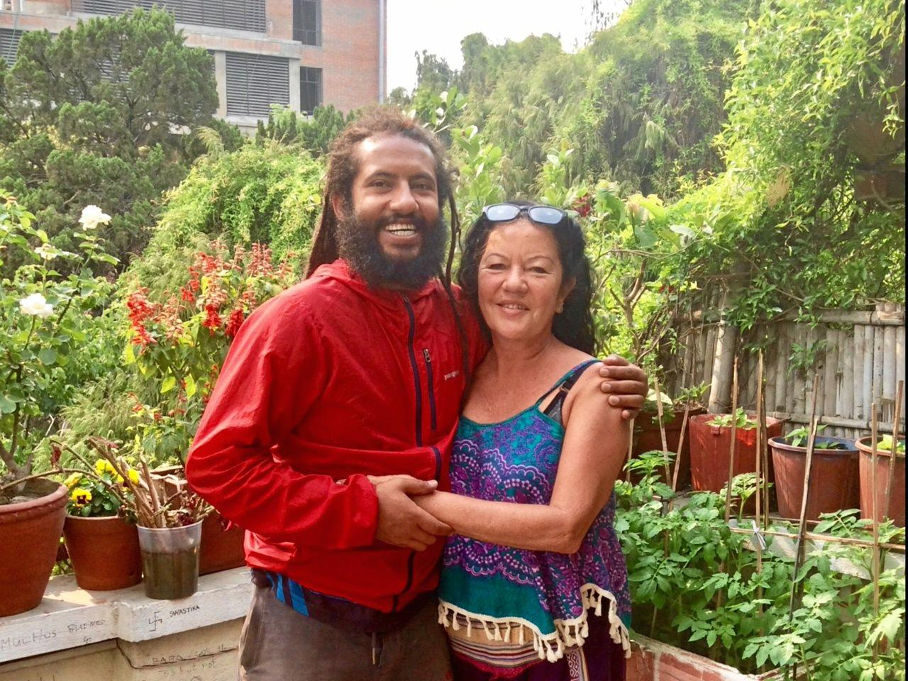 ALL HEART: Sunshine Coast traveller Kaz Sheakespeare and her friend Om, who is rebuilding schools in an earthquake-ravaged region of Nepal.