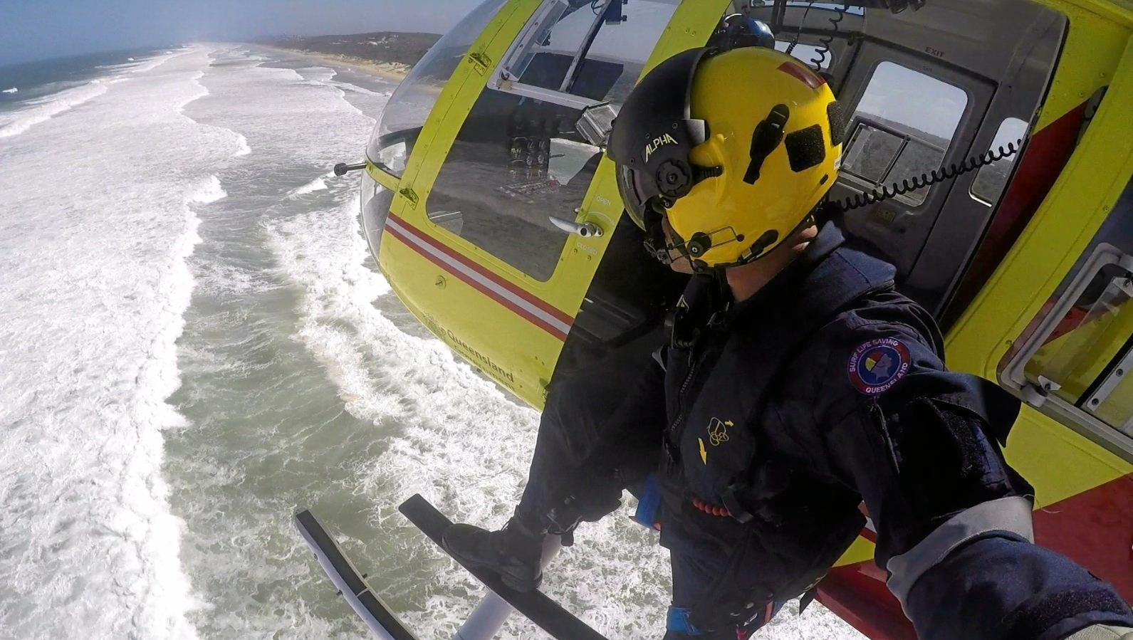 LIFE SAVING MISSION: Richard McHugh has a spectacular view from the Westpac Lifesaver Rescue Helicopter as it patrols the Sunshine Coast.