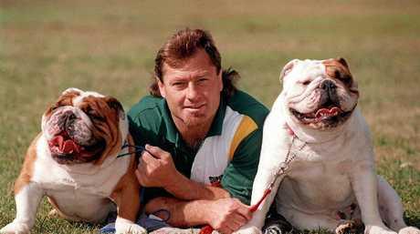 Sydney Bulldogs captain Terry Lamb with his bulldogs.