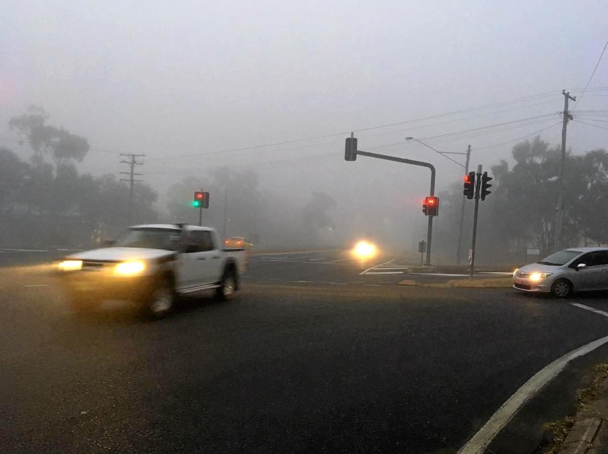 Thick fog is seen outside CQUniversity this morning.