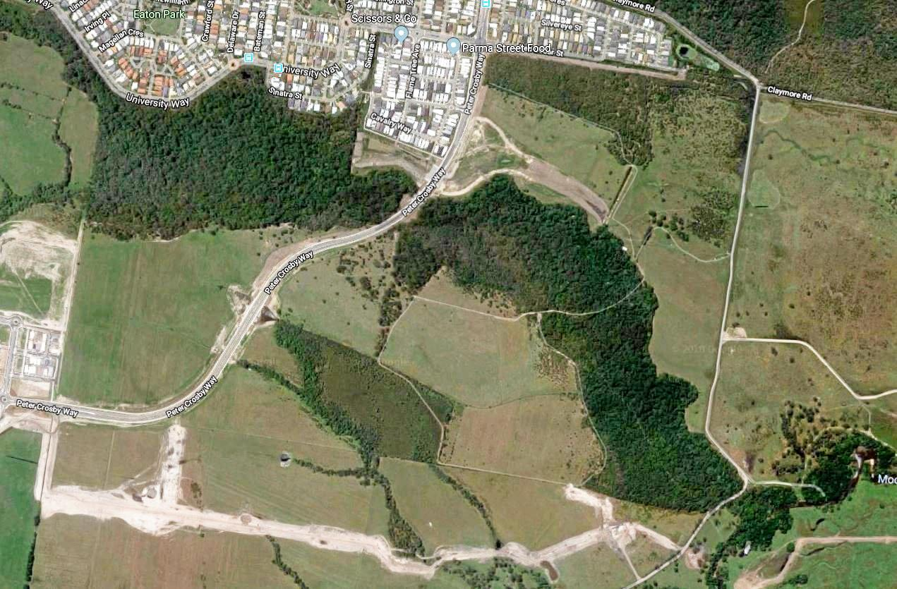 An satellite view of Palmview.