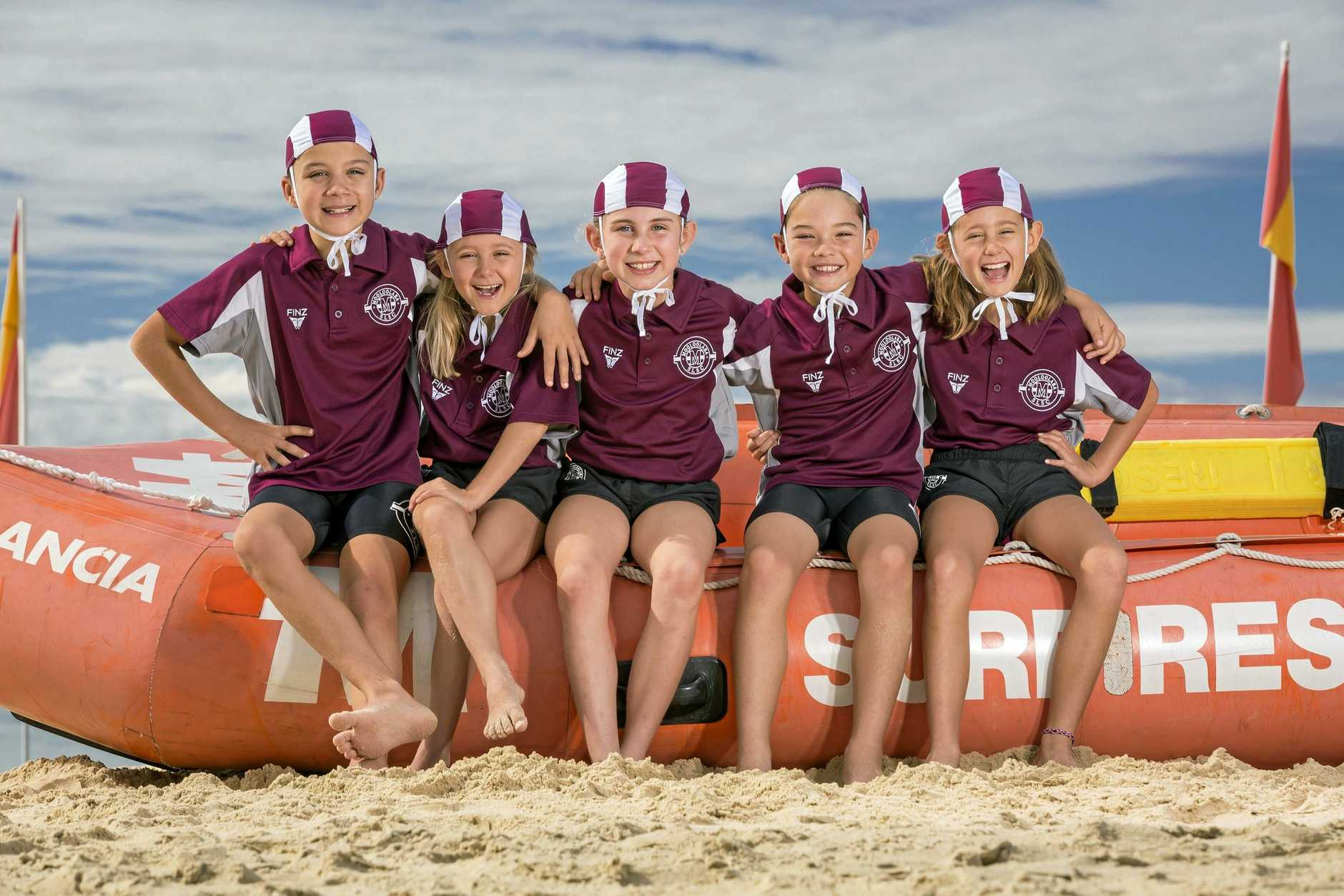 Mooloolaba SLSC nippers Max Jones, Lily Ross, Grace Thomas, Ryan Notley and Mollie Ross are ready to sign up for the new season.