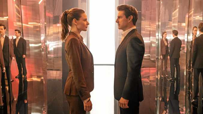 Rebecca Ferguson as Ilsa Faust and Tom Cruise as Ethan Hunt in a scene from Mission: Impossible - Fallout.
