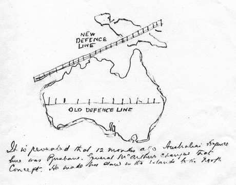 Sketch map published in the Brisbane Telegraph on March 18, 1943 showing the Brisbane Line scheme allegedly formulated during World War II. The sketch contained no proven information of a military nature.