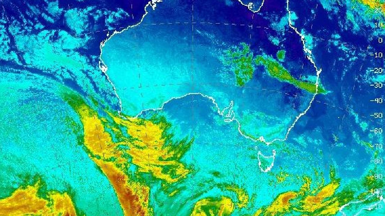 A Bureau of Meteorology chart shows the cold front and deep low approaching Western Australia.