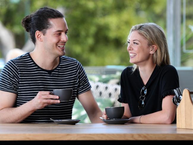 Nick Pelecanos, 25, and Sarah Kavanagh, 28, enjoying a morning coffee Picture: Tara Croser.