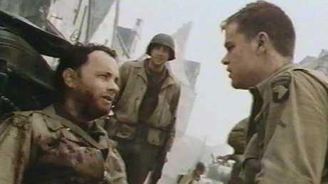 Tom Hanks and Matt Damon in a scene from the wartime movie.