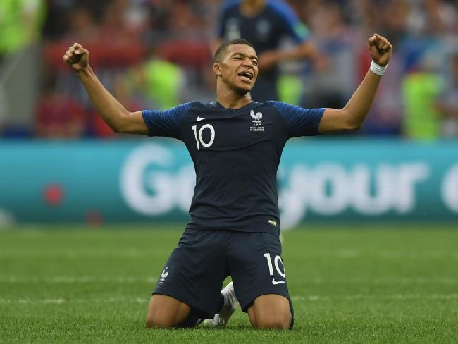 Kylian Mbappe of France celebrates at the final whistle at the end of the 2018 FIFA World Cup Russia Final )