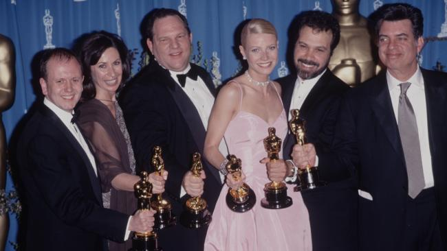 Producer Harvey Weinstein with Gwyneth Paltrow at the Oscars in 1999. Picture: The LIFE Picture Collection/Getty Images