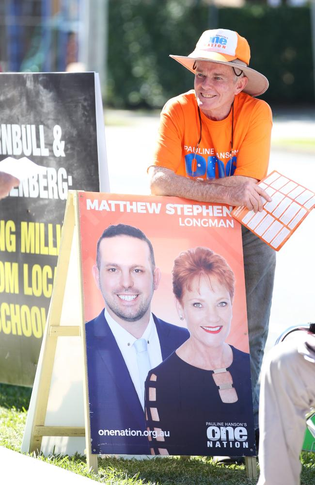 Former One Nation Senator Malcolm Roberts hands out how to vote cards. Picture: Lachie Millard