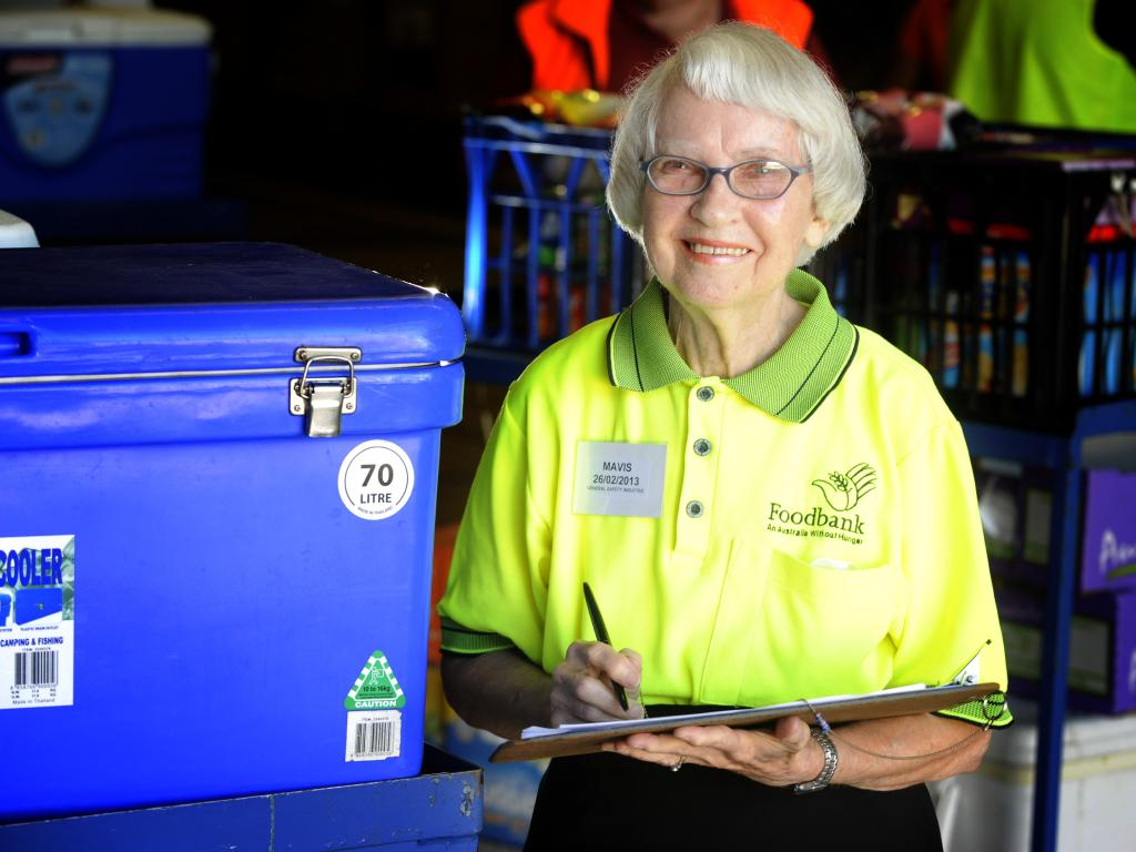 Mavis Wall has been working as a volunteer at the front counter at Foodbank in Brisbane for 14 years.