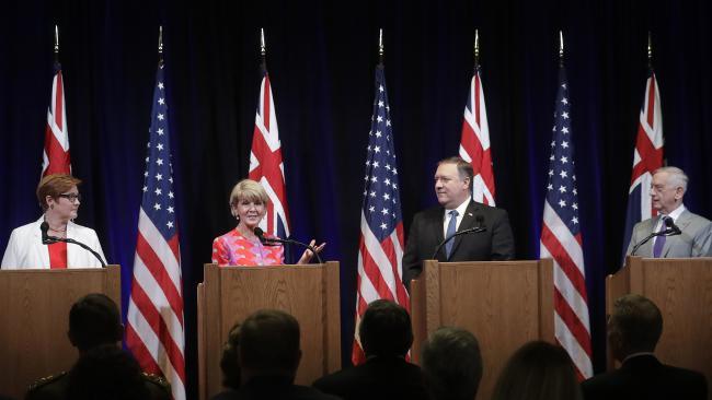 Ms Payne, Ms Bishop, Mr Pompeo and US Defence Secretary Jim Mattis at the AUSMIN talks in Stanford, California. Picture: AP Photo/Jeff Chiu