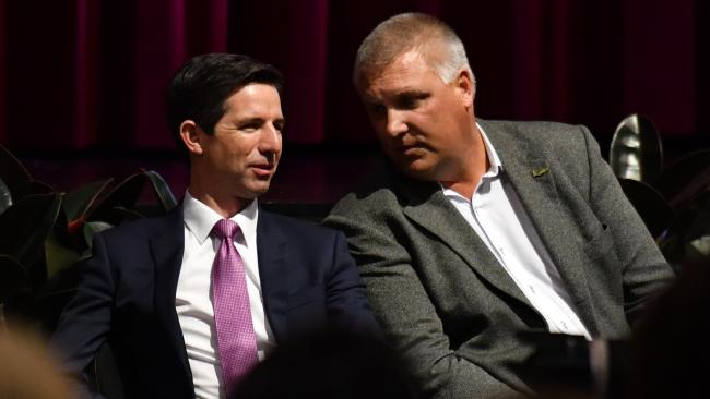 Federal Minister for Education Simon Birmingham and LNP candidate for Longman Trevor Ruthenberg at a Catholic schools parents' forum in Caboolture yesterday. Picture: AAP/Mick Tsikas