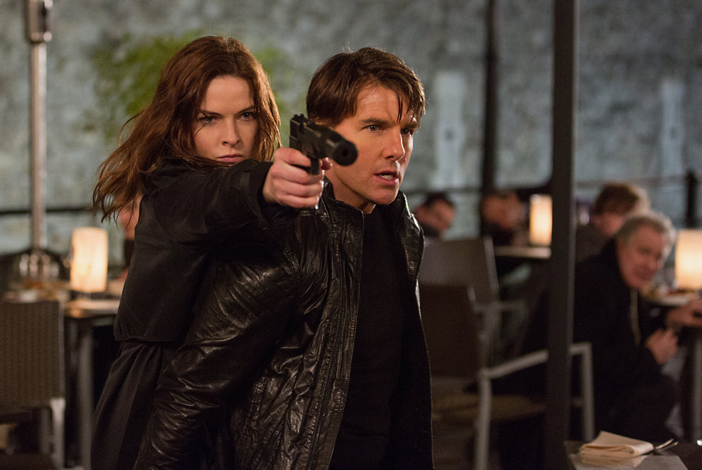 Rebecca Ferguson and Tom Cruise in a scene from the movie Mission: Impossible - Rogue Nation.