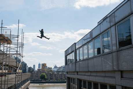 Tom Cruise performing the stunt for Mission: Impossible - Fallout which halted filming after he broke his ankle.