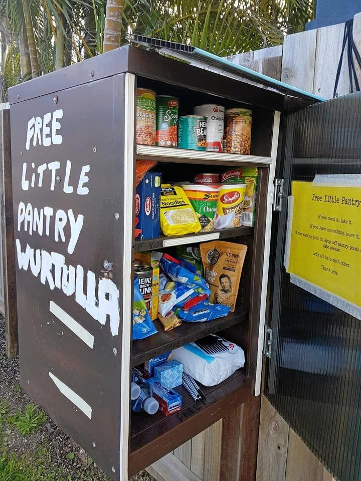 GIVE AND TAKE: Free Little Pantry Wurtulla is all about give and take, if you need something take it. If you have something leave it.