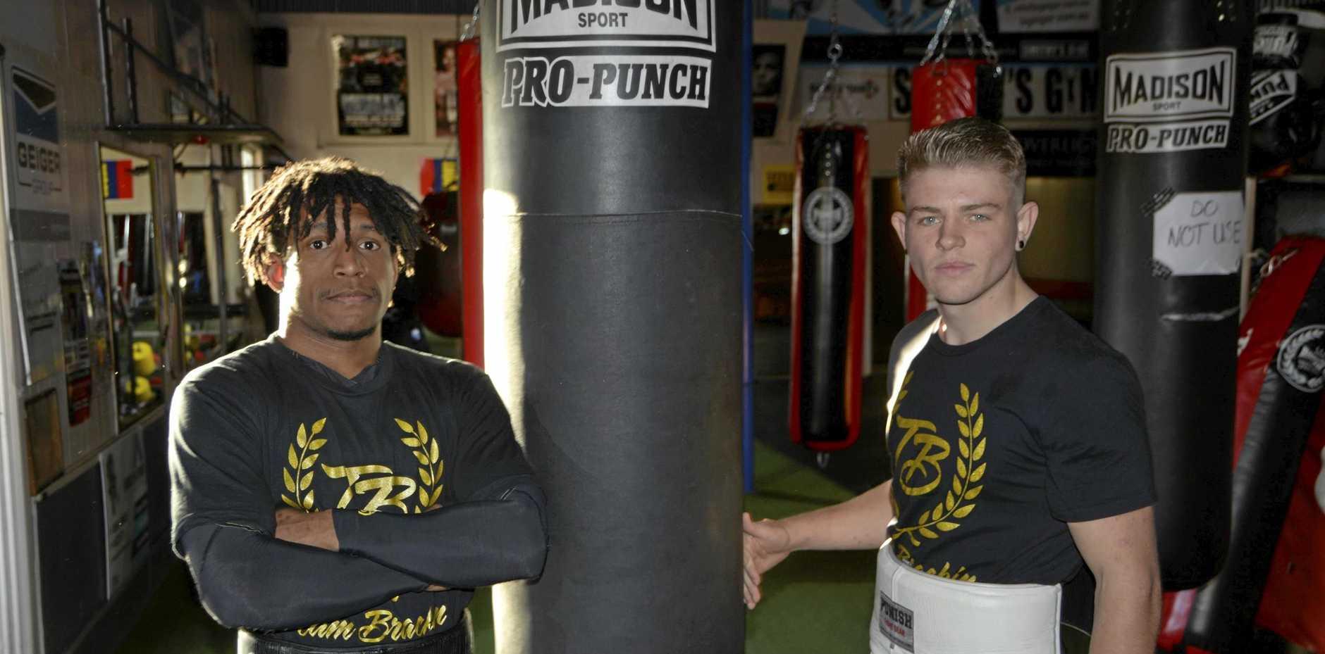 Toowoomba boxers Jaydii Kalambe (left) and Chris Brackin line up at Rumours International tomorrow week.