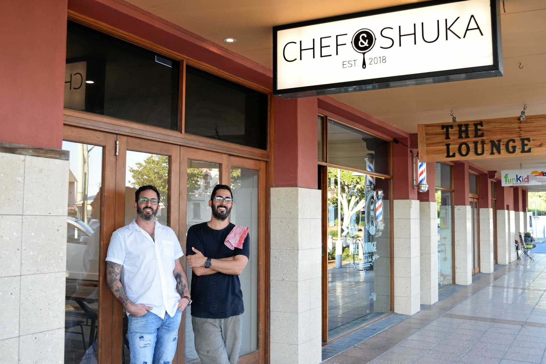 PROUD: Israeli brothers Shai and Roy Chason have brought a little of the Middle East and a little of Sydney to Ballina with their new restaurant Chefandshuka.