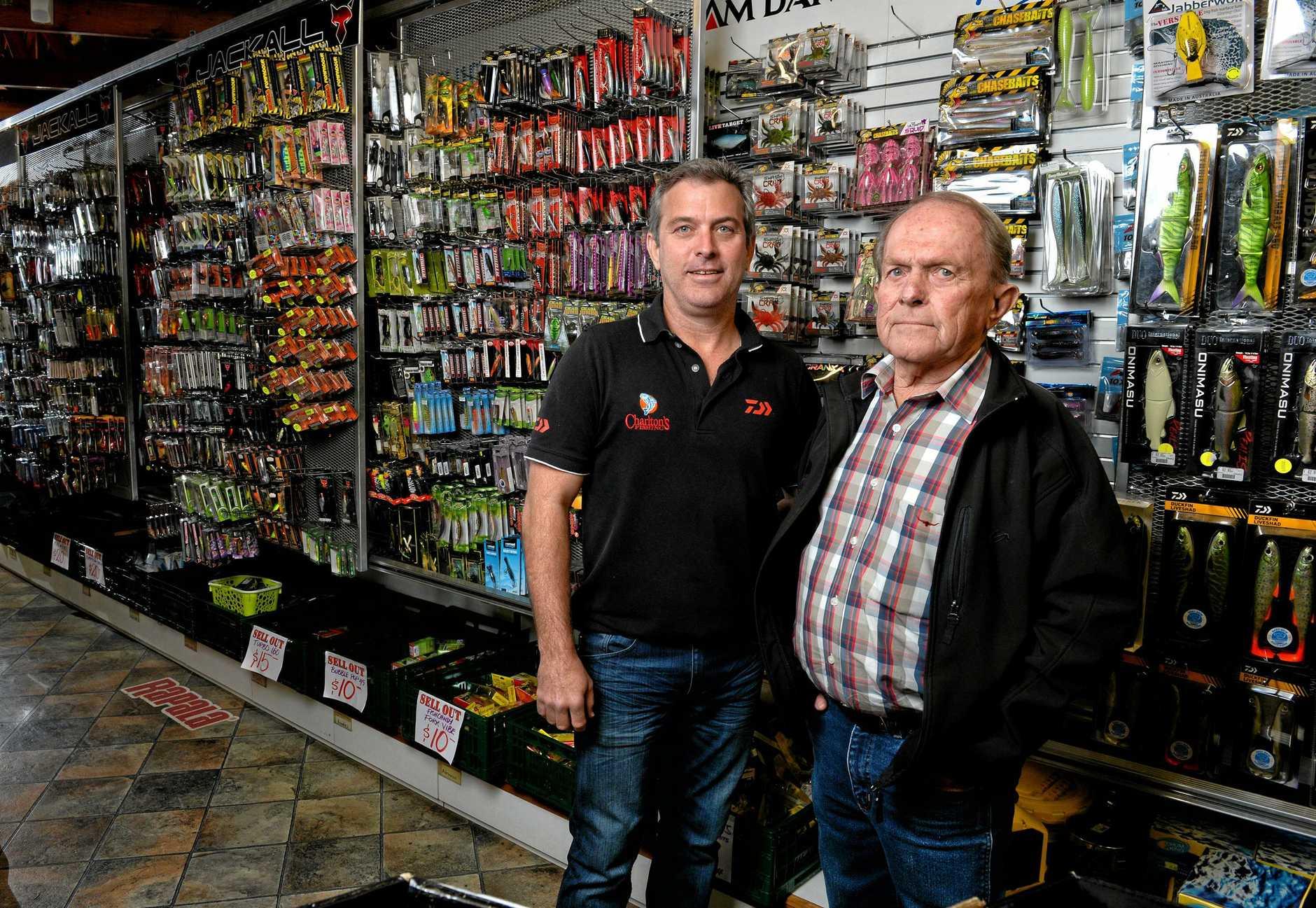 Craig and Brian Charlton in their Redbank Charlton's Fishing store.