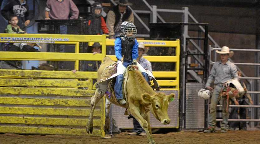 Caydence Fouracre (Poddy Ride) in Round 6 of the Top Guns Rodeo series at the Great Western Hotel on Saturday night.     Photo: Chris Ison / The Morning Bulletin