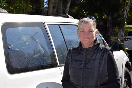 Kimberley Jones with her Pajero, where she had planned to live with her four kids if she did not find a house.