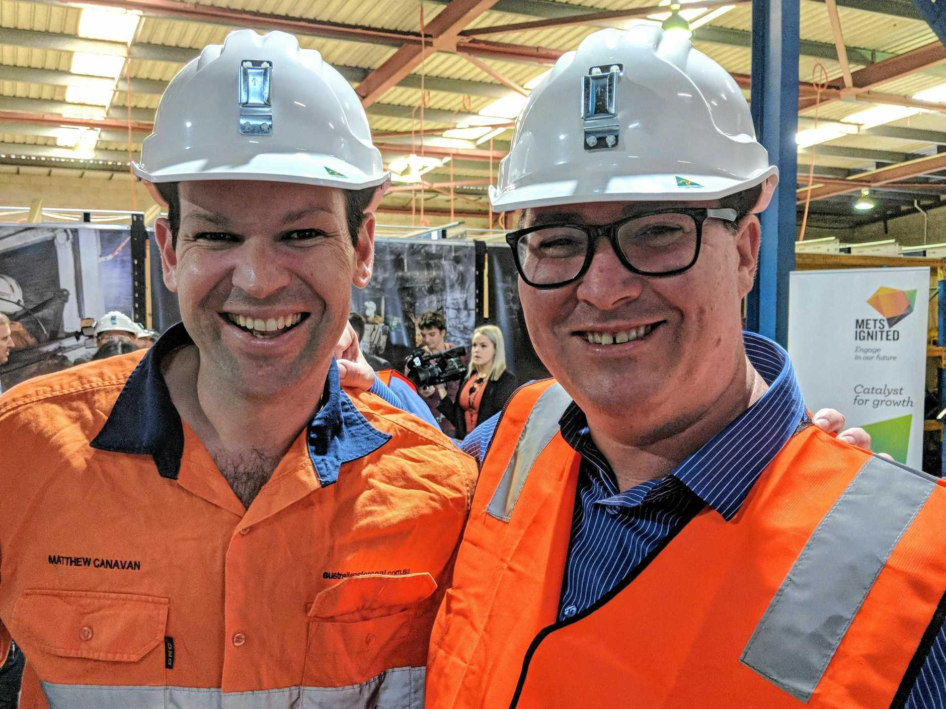 Minister for Resources and Northern Australia Senator Matt Canavan with Member for Dawson George Christensen. The politicians were checking out the Simulated Underground Mine Facility at MyneSight's River Street, Mackay headquarters.