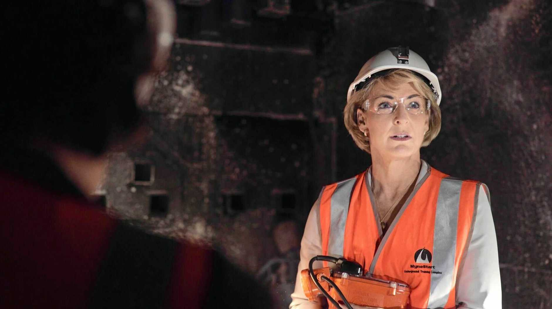 Minister for Jobs and Innovation Senator Michaelia Cash takes a look inside the  Simulated Underground Mine Facility at MyneSight's River Street, Mackay building.