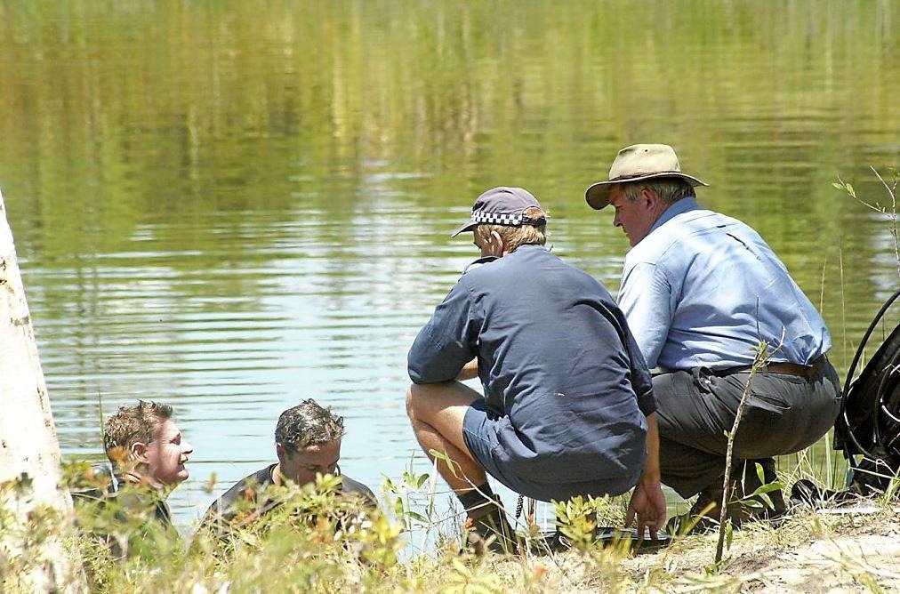 GRIM SCENE: The lagoon where police found the body of Erica Tomkinson in 2002.